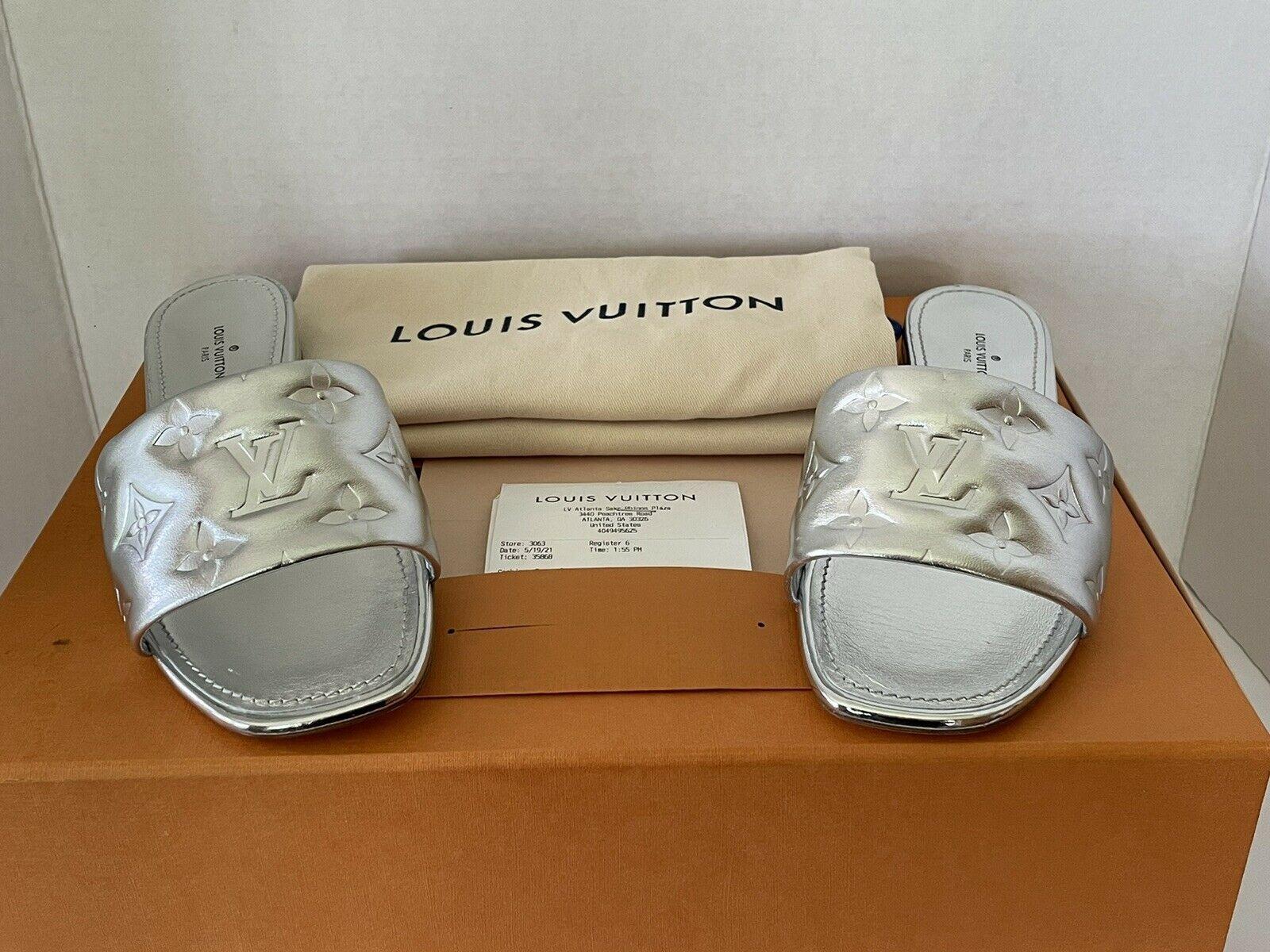 Louis Vuitton Shoes Revival Flat Mule Silver Lambskin Leather Size 36.5 6.5 - $1,107.85