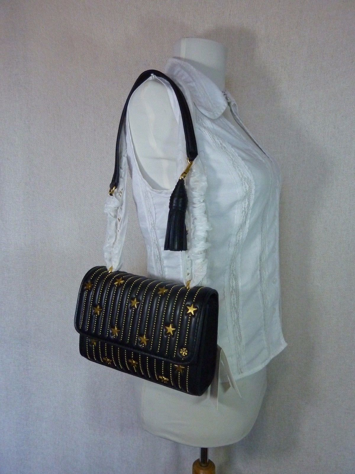NWT Tory Burch Black Fleming Star-Stud Small Convertible Bag $558 image 11
