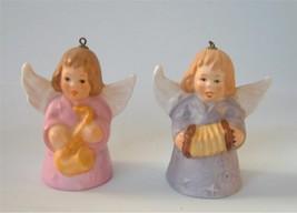 Vintage Pair Goebel Angel Girl Bell Xmas Ornament Porcelain Musicians lot of 2 - $19.75
