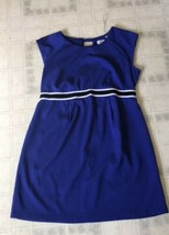 Motherhood Maternity Cobalt Blue Dress Cap Sleeves Size XL Striped Belt - $25.99