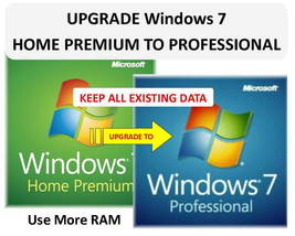 Win 7 PROFESSIONAL UPGRADE from Win 7 Home Premium 32/64bit - KEEPS ALL ... - $9.50