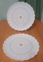 NEW IKEA SANNING 603.193.83 White salad Bread Desert Plates Floral shape... - $14.93
