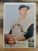 1957 TOPPS BOB CHAKALES BASEBALL CARD #261 EX CONDITION - $2.85
