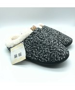 Fantiny Womens Clog Slippers Knit Slip On Faux Fur Lined Black Size 11-12 - $24.18