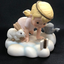 1987 Franklin Mint Almost Angels Figurine Love Is Patient Bunny Rabbit Carrot - $34.65