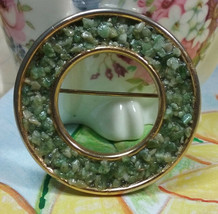 "Vintage Jewelry: 1 1/2"" Green Brooch  170717 - $8.99"