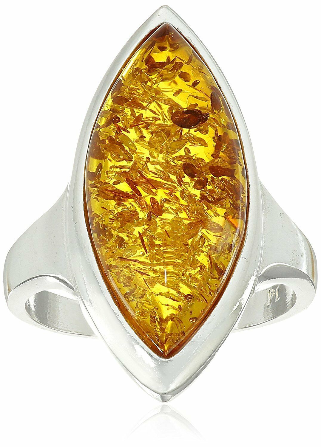 Amazon Collection Argent Sterling 925 Miel Ambre Marquise en Forme Ring Taille 6