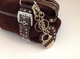 Kathy Van Zeeland Brown Studded Rhinestone Buckle Straps Faux Suede Two Keychain image 4