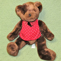 COMMONWEALTH TOYS TEDDY BEAR BROWN RED WHITE POLKA DOT VEST STUFFED ANIM... - $14.85