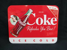 Coca-Cola Tin Trivet Cork Back Red Refreshes You Best - $4.95