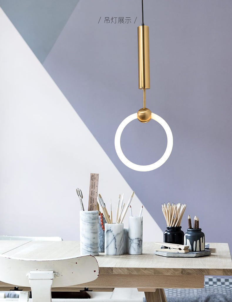 Post Modern Lee Broom Ring Suspension Gold Finish Cool Light Ceing Lamp Replica