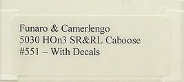 Funaro & Camerlengo HOn3 SR&RL Caboose # 551 Kit 5030 image 3