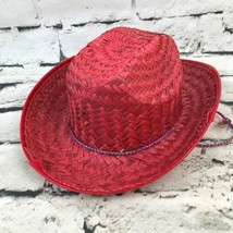 Vintage Childs OSFA Hat Red Woven Straw Cowboy Pretend Play Western Cap - $16.82