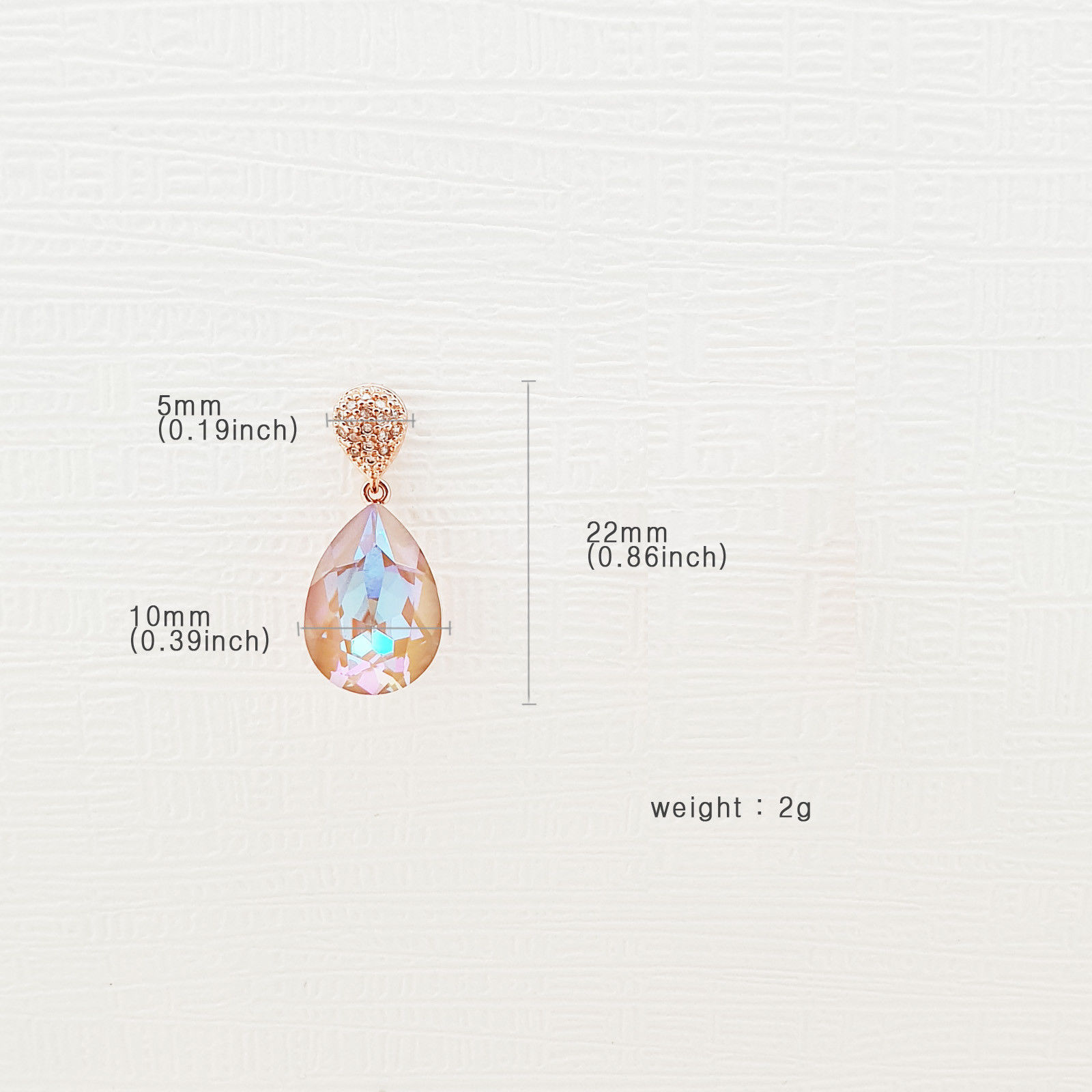 Water Drop Aurora Borealis Made With Swarovski Stone Dangle Earrings 925 Silver image 9