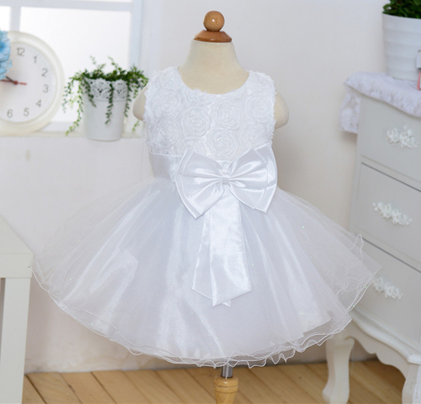 Pricess Lace White  Satin Short Flower Girl Dress 2018 O-Neck Party Gowns Bow  image 3