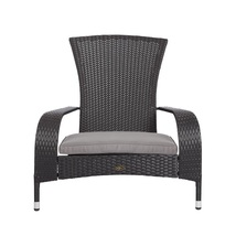 Outdoor Chair Furniture with Gray Cushion Black Wicker Plastic Poolside ... - $114.99