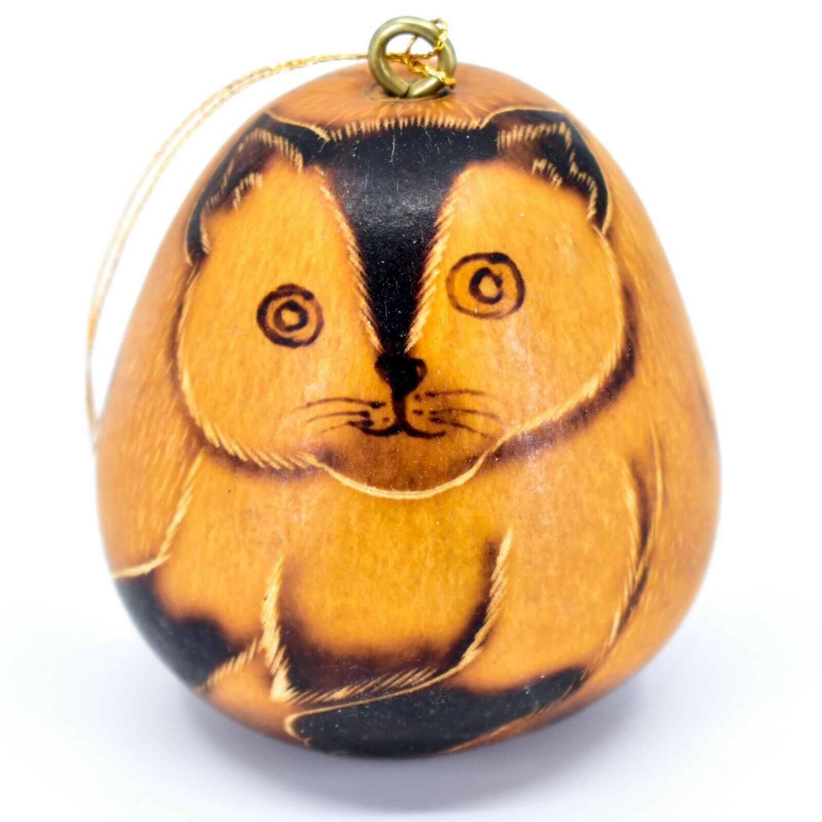 Handcrafted Carved Gourd Art Siamese Cat Kitten Kitty Ornament Made in Peru