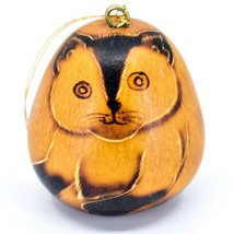 Handcrafted Carved Gourd Art Siamese Cat Kitten Kitty Ornament Made in Peru - $16.82