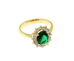 18K YELLOW GOLD FLOWER RING BIG OVAL 9x7mm GREEN CRYSTAL CUBIC ZIRCONIA FRAME image 1