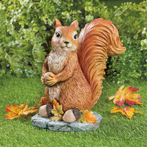Sylvester Squirrel Garden Statue with Acorns, Fall Outdoor or Indoor Décor  - $29.91
