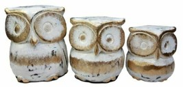 Balinese Wood Handicrafts White & Gold Forest Owl Family Set of 3 Figuri... - $21.99