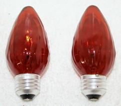 2 Vintage GE 25w E7C Orange Ribbed Fluted Flame Orange Incandescent Light Bulbs - $10.99