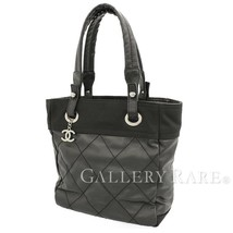CHANEL Paris Biarritz Tote Bag PM PVC Leather Black A34208  Authentic 54... - $960.11