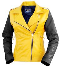 Leather Jacket Quilted Yellow New Skin Sheep Woman Women Black Flash Gen... - $300.00