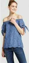 NWT Womens (Juniors') Miss Chievous Lace Off the Shoulder Top Blue Lagoo... - $6.92