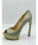 Femmes Sans Peur Womens Cora Suede Peep Toe Pumps Silver Size 9 - $197.99