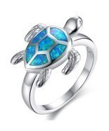 Unique Turtle Blue Fire Opal Animal Rings Women Wedding Band Fashion Jew... - $14.57 CAD