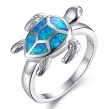 Unique Turtle Blue Fire Opal Animal Rings Women Wedding Band Fashion Jew... - $11.02