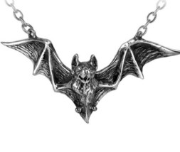 Om Strygia Balkan Flying Vampire Bat Pendant Pewter Necklace Alchemy Gothic P597 - $25.00