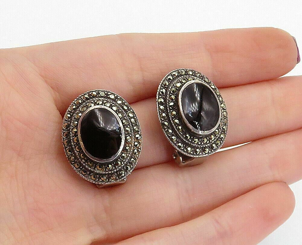 Primary image for 925 Sterling Silver - Vintage Black Onyx & Marcasite Non Pierce Earrings - E9803