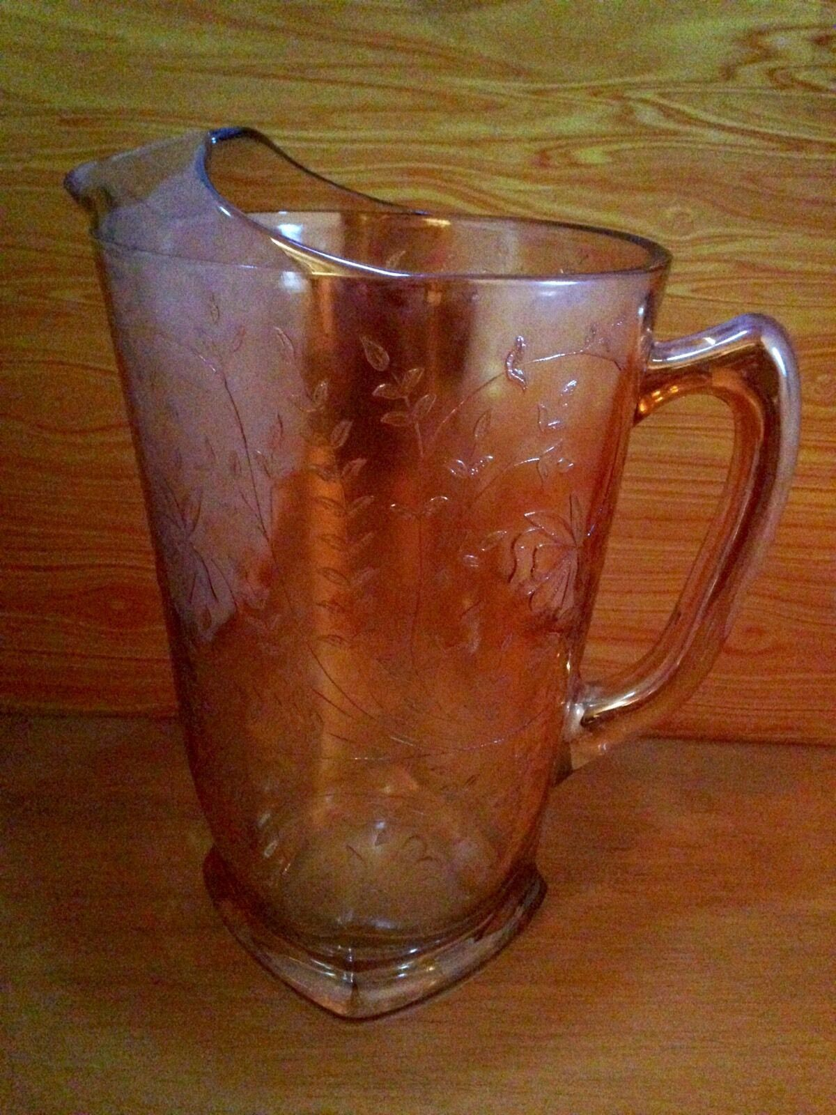 Vintage Carnival Glass 3 pc. Pitcher And Cup Set Antique Iridescent image 2