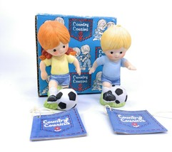 Enesco COUNTRY COUSINS Katie and Scooter Playing Soccer Set E-8272 with Box - $34.64