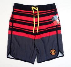 Manchester United Red & Black Stretch Boardshorts Swim Trunks Mens NWT - $44.99