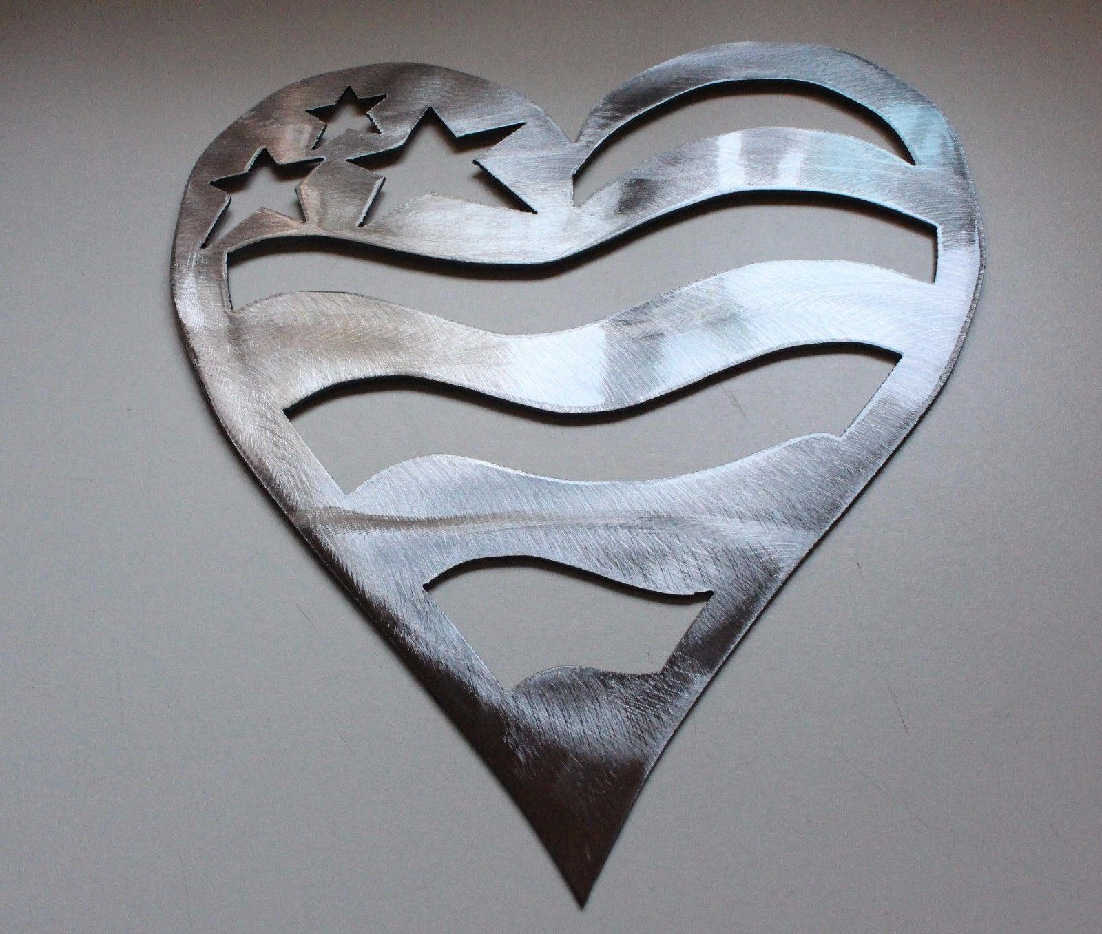 Stars and stripes silver heart metal wall art decor 7 Stars and stripes home decor