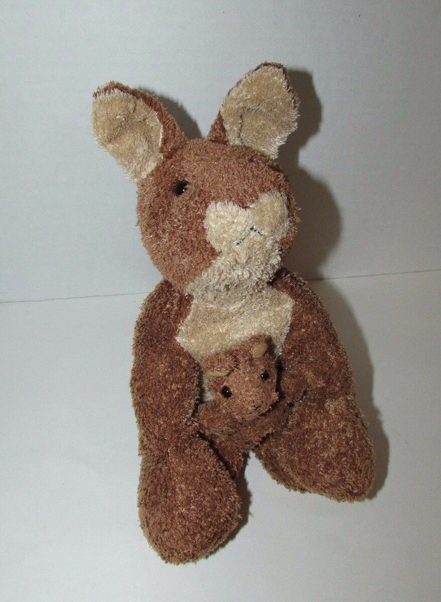 Brown cream tan Kangaroo mom baby joey beanbag plush soft floppy no tags