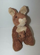 Brown cream tan Kangaroo mom baby joey beanbag plush soft floppy no tags - $13.36