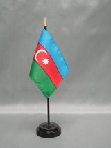 "AZERBAIJAN 4X6"" TABLE TOP FLAG W/ BASE NEW DESK TOP HANDHELD STICK FLAG - $4.95"