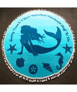 Ginga's Galleria Blue Mermaid Multi-Way Round Beach Towel Throw - $21.75