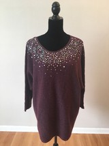 Lane Bryant Purple Beaded Sequins 3/4 Sleeve Sweater Plus Size 18/20 NWOT - $19.80