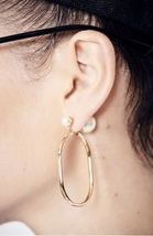 AUTHENTIC Christian Dior 2019 DIOR TRIBLES GOLD HOOP DOUBLE PEARL Earrings RARE image 2