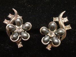 vintage silvertone flower black cabochon rhinestone climbs the ear earri... - $15.00