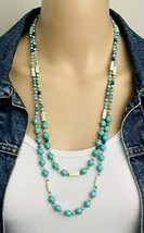 Two Strand Dyed Turquoise Howlite Purple Pink Blue Quartz Beaded Necklace - $41.58