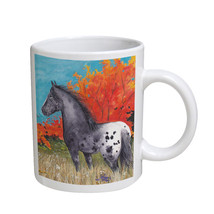 KuzmarK Coffee Cup Mug 11 Ounce -  Black Blanket Appaloosa in Autumn Hor... - $18.00