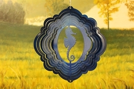 8in stainless steel blue seahorse USA 3D hanging yard deck wind spinner ... - €14,69 EUR