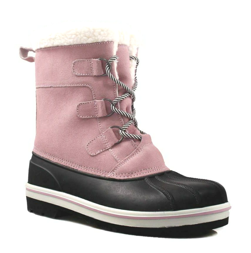 Cat & Jack Girls' Rolane Pink Leather Water Resistant Thermolite Winter Boots