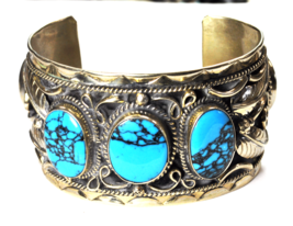 """Sterling Silver Mexico Wide Cuff Bright Blue Turquoise Bracelet 43mm 6.5"""" - $148.49"""